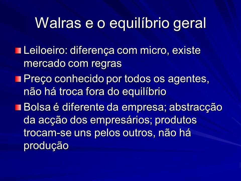 Walras e o equilíbrio geral Leiloeiro: diferença com micro, existe mercado com regras Preço conhecido por todos os agentes, não há troca fora do equil