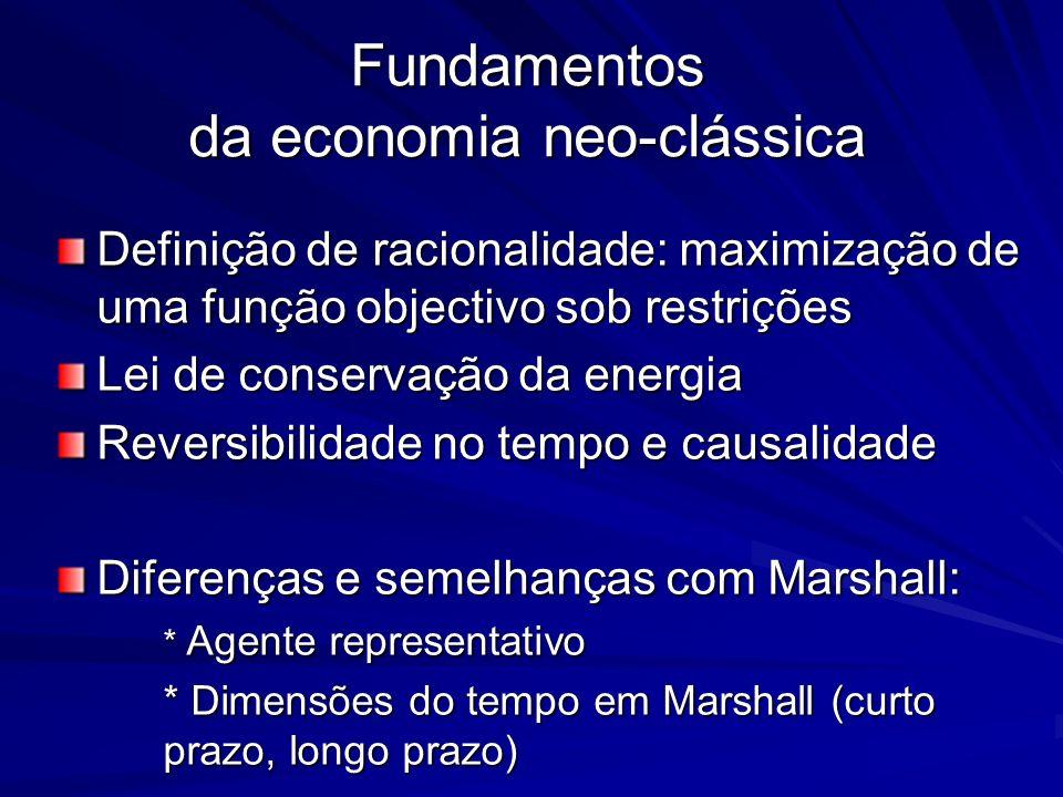 Fundamentos da economia neo-clássica Definição de racionalidade: maximização de uma função objectivo sob restrições Lei de conservação da energia Reve