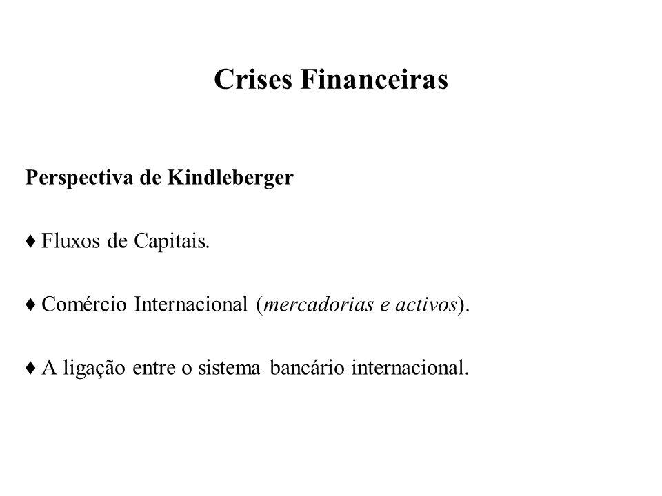 Crises Financeiras Perspectiva de Kindleberger Fluxos de Capitais. Comércio Internacional (mercadorias e activos). A ligação entre o sistema bancário