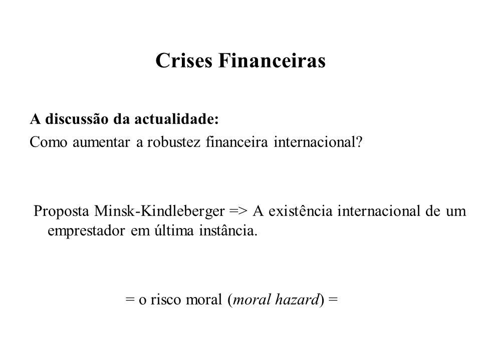 Crises Financeiras A discussão da actualidade: Como aumentar a robustez financeira internacional? Proposta Minsk-Kindleberger => A existência internac