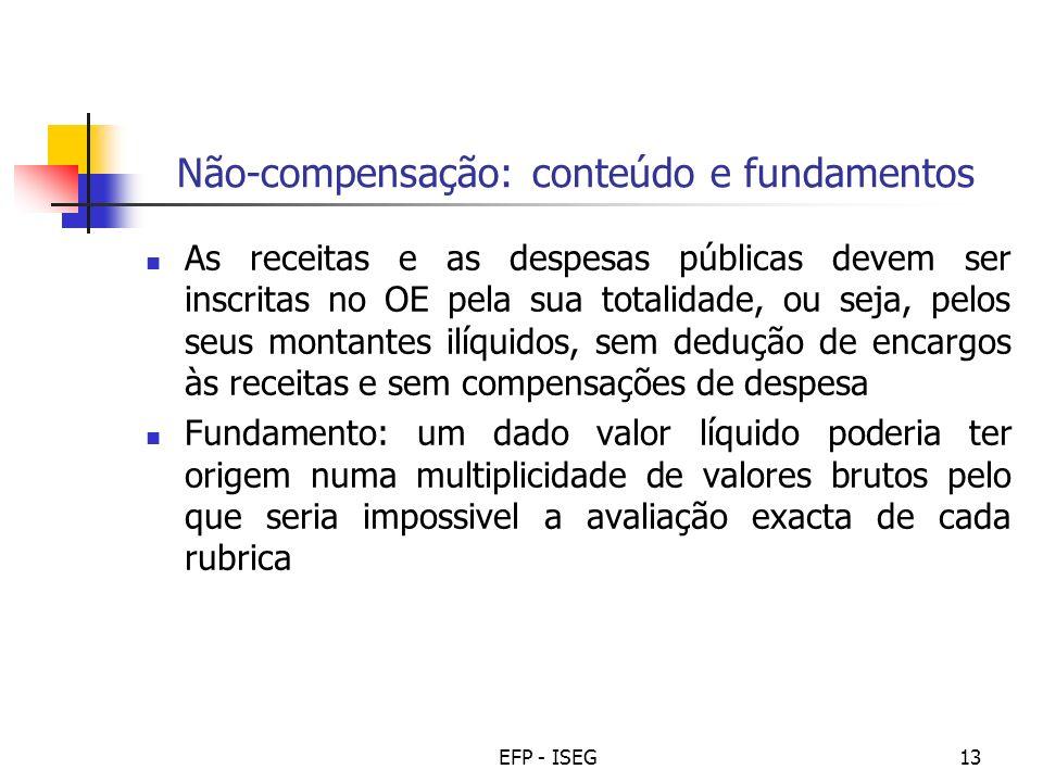 EFP - ISEG13 Não-compensação: conteúdo e fundamentos As receitas e as despesas públicas devem ser inscritas no OE pela sua totalidade, ou seja, pelos