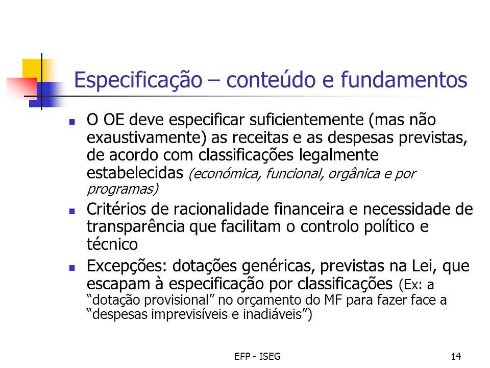 EFP - ISEG14 Especificação – conteúdo e fundamentos O OE deve especificar suficientemente (mas não exaustivamente) as receitas e as despesas previstas