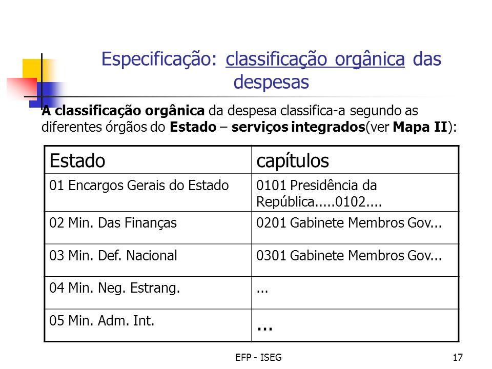 EFP - ISEG17 Especificação: classificação orgânica das despesas A classificação orgânica da despesa classifica-a segundo as diferentes órgãos do Estad