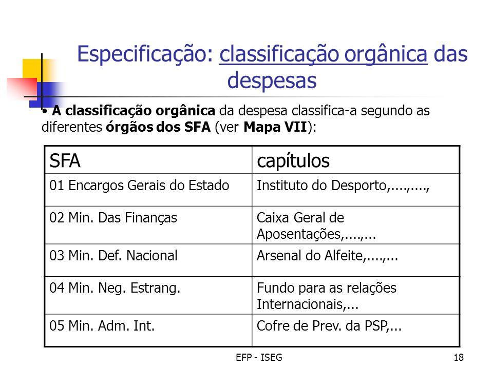 EFP - ISEG18 Especificação: classificação orgânica das despesas A classificação orgânica da despesa classifica-a segundo as diferentes órgãos dos SFA