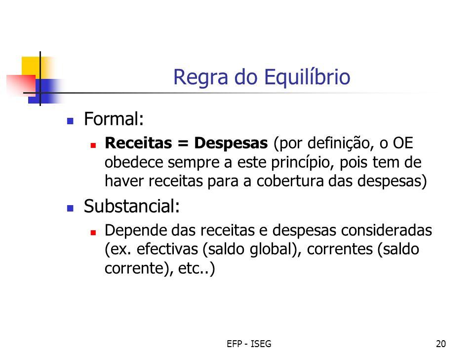 EFP - ISEG20 Regra do Equilíbrio Formal: Receitas = Despesas (por definição, o OE obedece sempre a este princípio, pois tem de haver receitas para a c