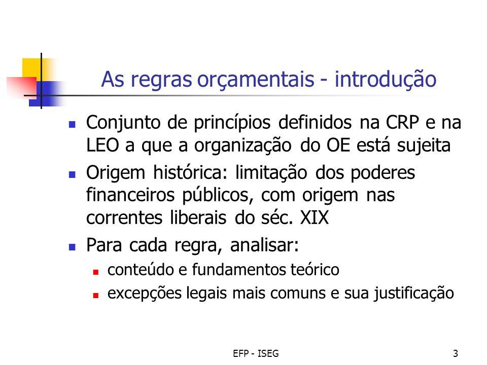 EFP - ISEG3 As regras orçamentais - introdução Conjunto de princípios definidos na CRP e na LEO a que a organização do OE está sujeita Origem históric
