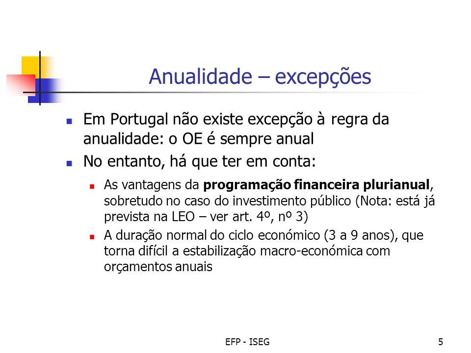 EFP - ISEG5 Anualidade – excepções Em Portugal não existe excepção à regra da anualidade: o OE é sempre anual No entanto, há que ter em conta: As vant