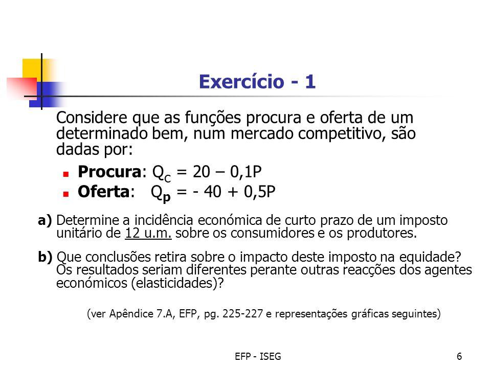 EFP - ISEG6 Exercício - 1 Considere que as funções procura e oferta de um determinado bem, num mercado competitivo, são dadas por: Procura: Q c = 20 –