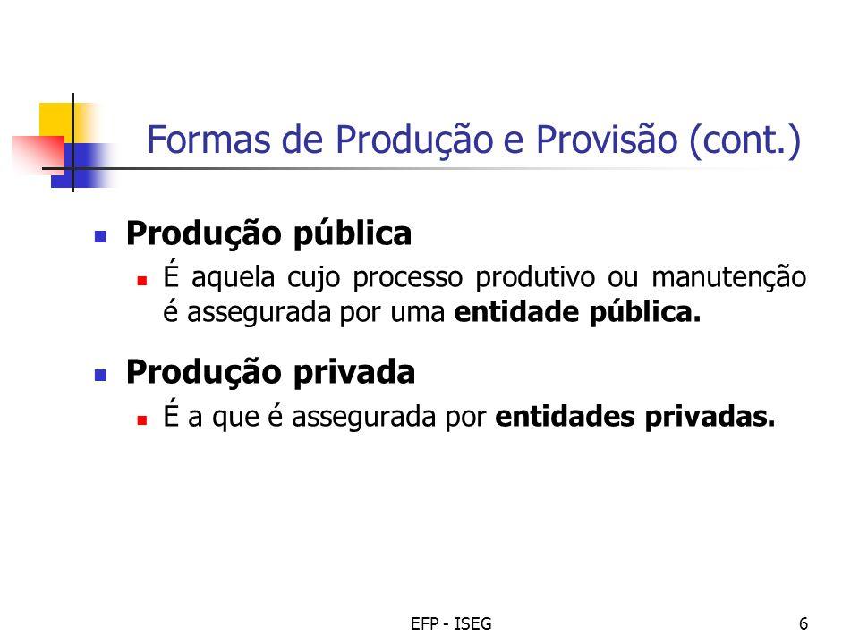 EFP - ISEG6 Formas de Produção e Provisão (cont.) Produção pública É aquela cujo processo produtivo ou manutenção é assegurada por uma entidade pública.