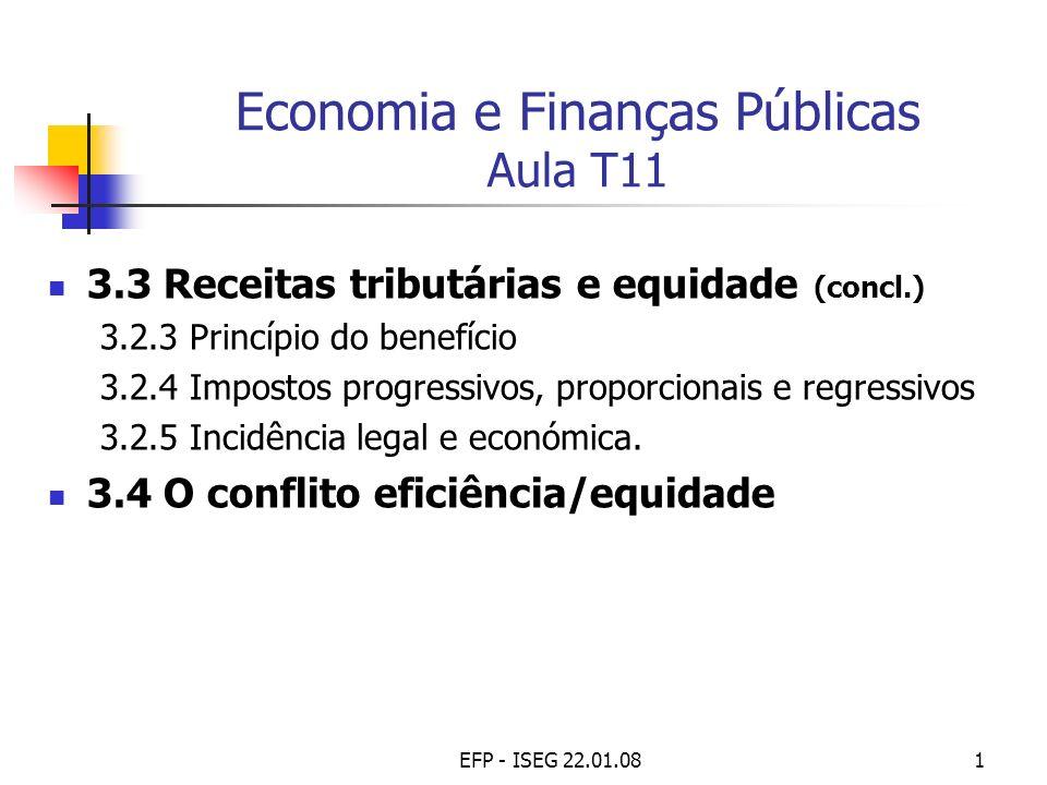 EFP - ISEG 22.01.081 Economia e Finanças Públicas Aula T11 3.3 Receitas tributárias e equidade (concl.) 3.2.3 Princípio do benefício 3.2.4 Impostos pr