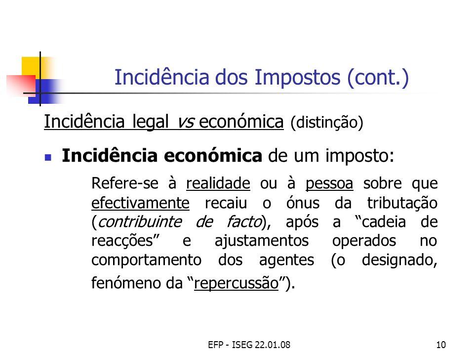 EFP - ISEG 22.01.0810 Incidência dos Impostos (cont.) Incidência legal vs económica (distinção) Incidência económica de um imposto: Refere-se à realid