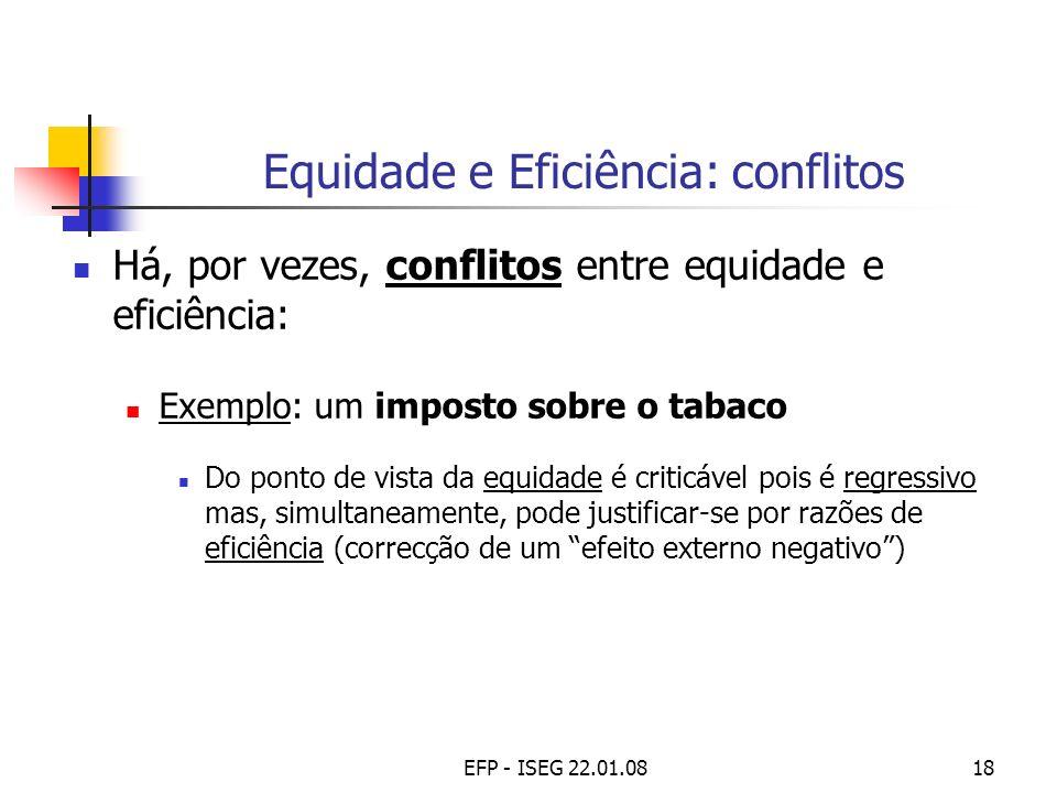 EFP - ISEG 22.01.0818 Equidade e Eficiência: conflitos Há, por vezes, conflitos entre equidade e eficiência: Exemplo: um imposto sobre o tabaco Do pon