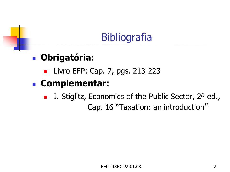 EFP - ISEG 22.01.082 Bibliografia Obrigatória: Livro EFP: Cap. 7, pgs. 213-223 Complementar: J. Stiglitz, Economics of the Public Sector, 2ª ed., Cap.