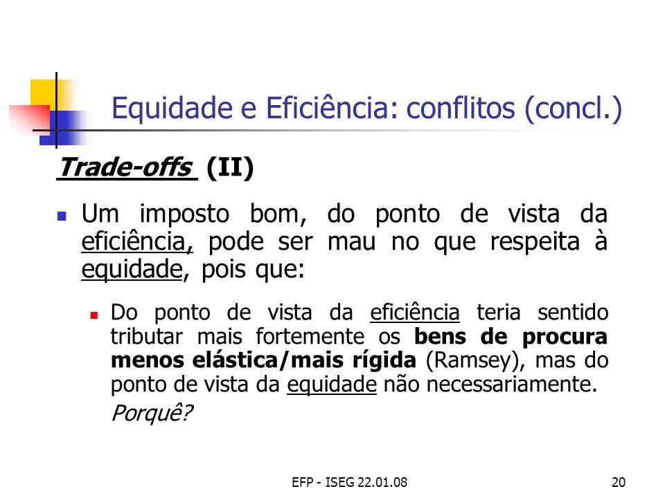 EFP - ISEG 22.01.0820 Equidade e Eficiência: conflitos (concl.) Trade-offs (II) Um imposto bom, do ponto de vista da eficiência, pode ser mau no que r