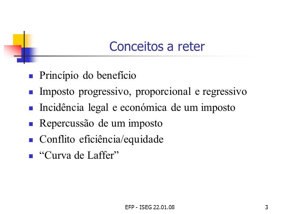 EFP - ISEG 22.01.083 Conceitos a reter Princípio do benefício Imposto progressivo, proporcional e regressivo Incidência legal e económica de um impost