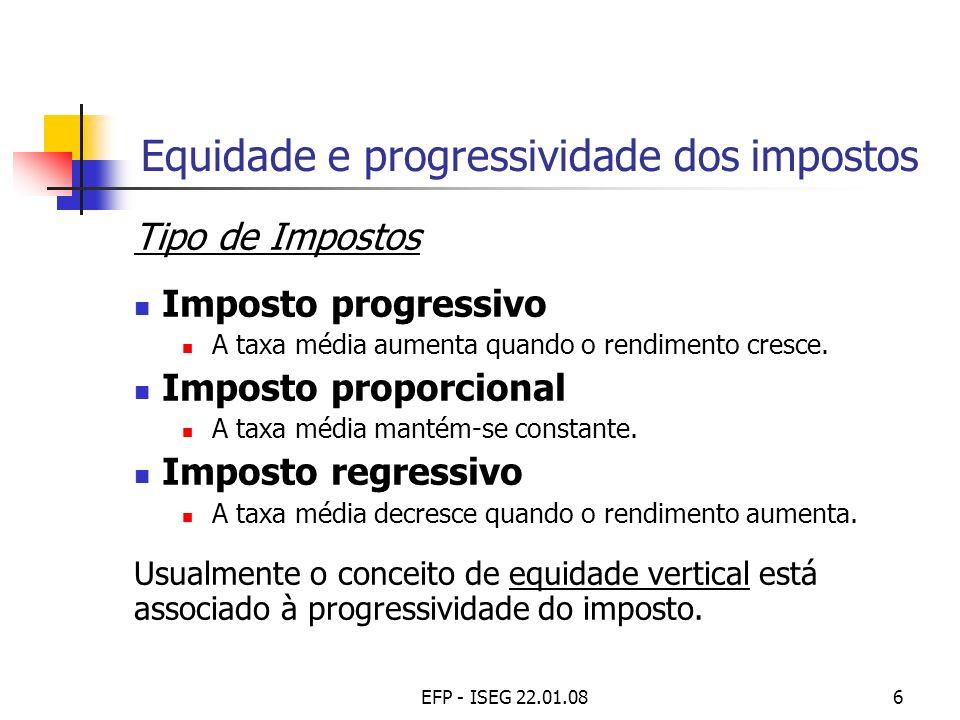 EFP - ISEG 22.01.086 Equidade e progressividade dos impostos Tipo de Impostos Imposto progressivo A taxa média aumenta quando o rendimento cresce. Imp