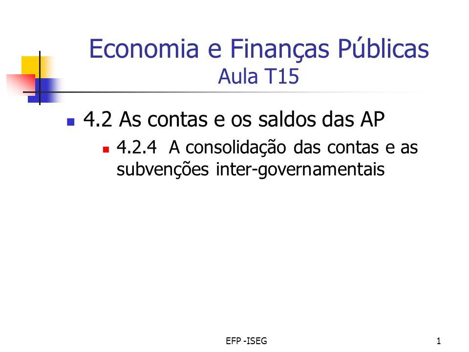 EFP -ISEG1 Economia e Finanças Públicas Aula T15 4.2 As contas e os saldos das AP 4.2.4 A consolidação das contas e as subvenções inter-governamentais