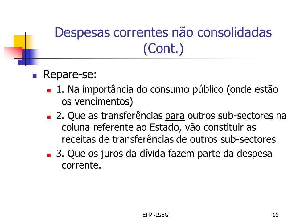 EFP -ISEG16 Despesas correntes não consolidadas (Cont.) Repare-se: 1.