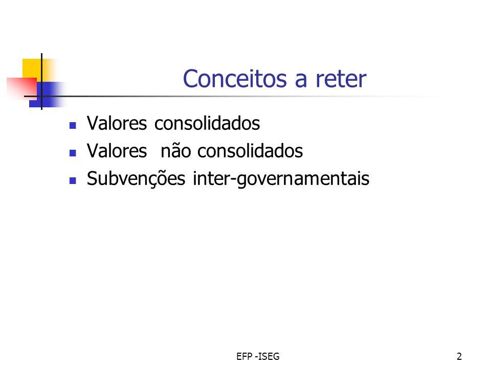 EFP -ISEG2 Conceitos a reter Valores consolidados Valores não consolidados Subvenções inter-governamentais