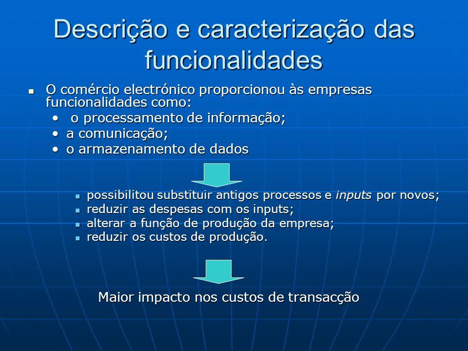 Descrição e caracterização das funcionalidades O comércio electrónico proporcionou às empresas funcionalidades como: O comércio electrónico proporcion