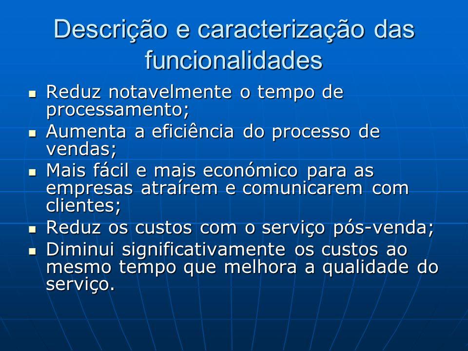 Descrição e caracterização das funcionalidades Reduz notavelmente o tempo de processamento; Reduz notavelmente o tempo de processamento; Aumenta a efi