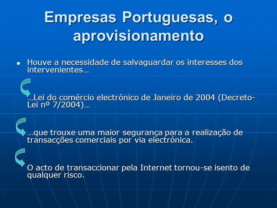 Empresas Portuguesas, o aprovisionamento Houve a necessidade de salvaguardar os interesses dos intervenientes… Houve a necessidade de salvaguardar os