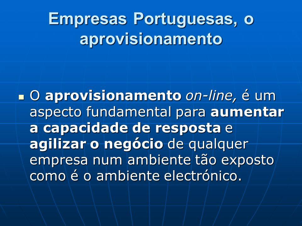 Empresas Portuguesas, o aprovisionamento O aprovisionamento on-line, é um aspecto fundamental para aumentar a capacidade de resposta e agilizar o negó