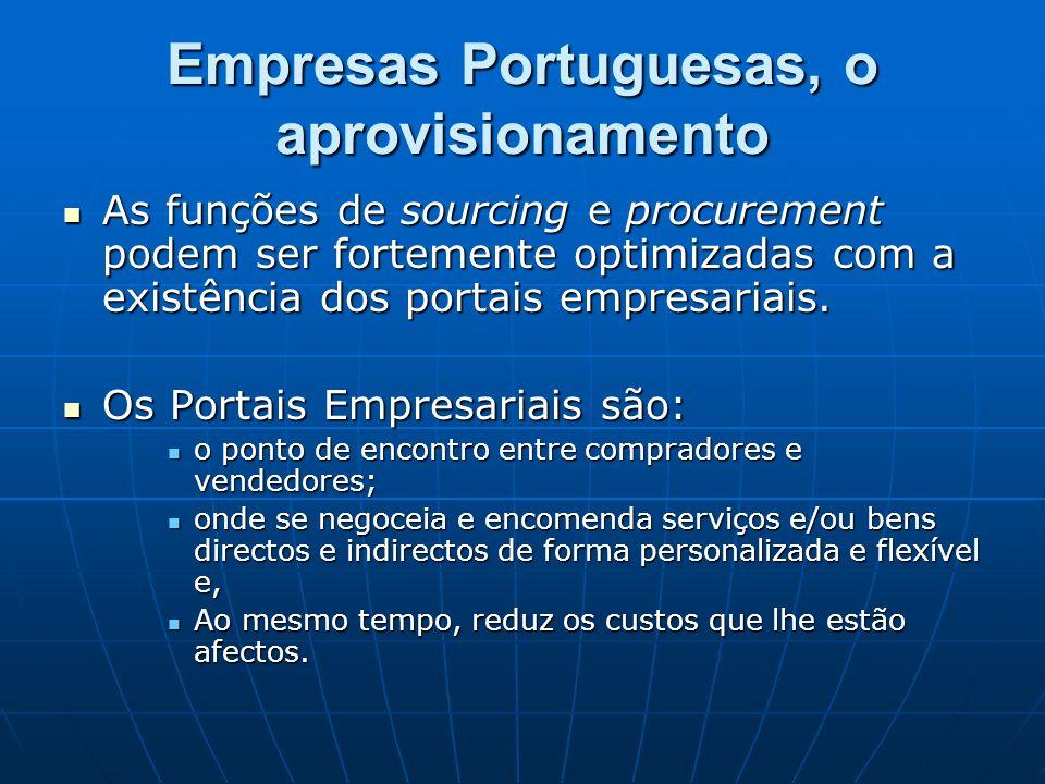 Empresas Portuguesas, o aprovisionamento As funções de sourcing e procurement podem ser fortemente optimizadas com a existência dos portais empresaria