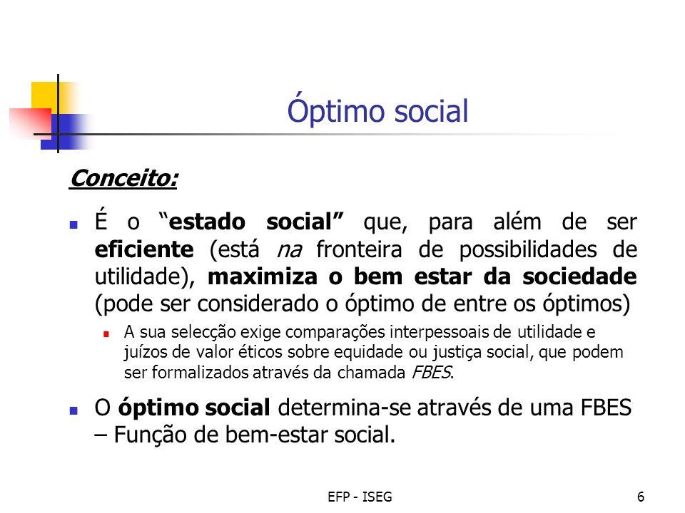EFP - ISEG7 Função de bem estar social (FBES) Conceito: É a tradução do que se entende por bem-estar social, como função exclusiva dos níveis de bem-estar de cada indivíduo (ou grupos de indivíduos) na sociedade.