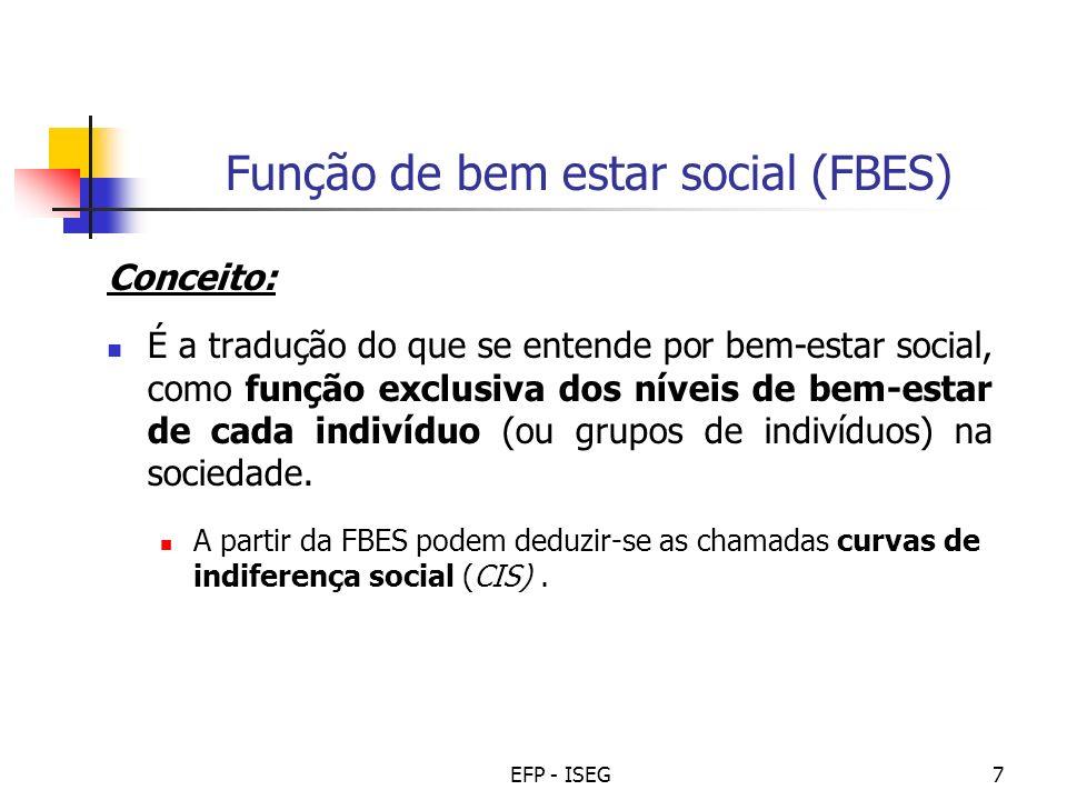 EFP - ISEG8 Curvas de indiferença social (CIS) Conceito: Representam o conjunto das combinações de utilidades entre os indivíduos (ou grupos) para os quais a sociedade é indiferente.