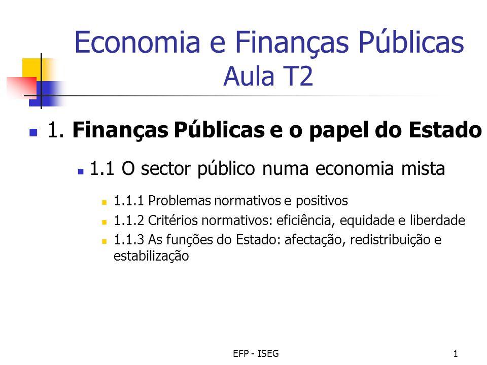 EFP - ISEG1 Economia e Finanças Públicas Aula T2 1. Finanças Públicas e o papel do Estado 1.1 O sector público numa economia mista 1.1.1 Problemas nor