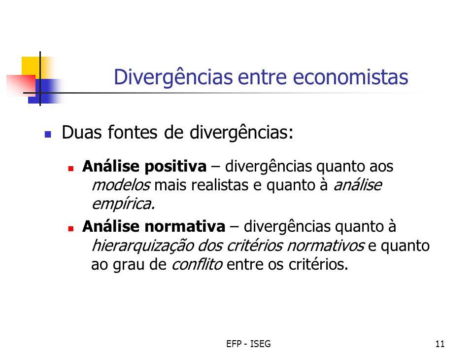 EFP - ISEG11 Divergências entre economistas Duas fontes de divergências: Análise positiva – divergências quanto aos modelos mais realistas e quanto à