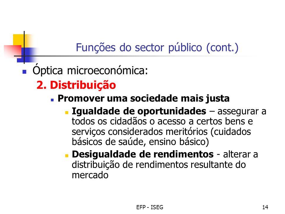 EFP - ISEG14 Funções do sector público (cont.) Óptica microeconómica: 2. Distribuição Promover uma sociedade mais justa Igualdade de oportunidades – a