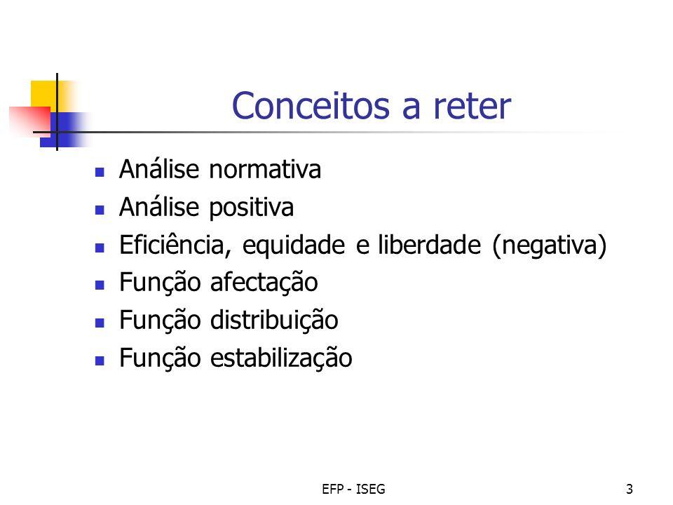 EFP - ISEG3 Conceitos a reter Análise normativa Análise positiva Eficiência, equidade e liberdade (negativa) Função afectação Função distribuição Funç