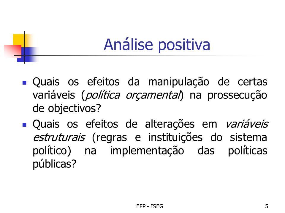 EFP - ISEG5 Análise positiva Quais os efeitos da manipulação de certas variáveis (política orçamental) na prossecução de objectivos? Quais os efeitos