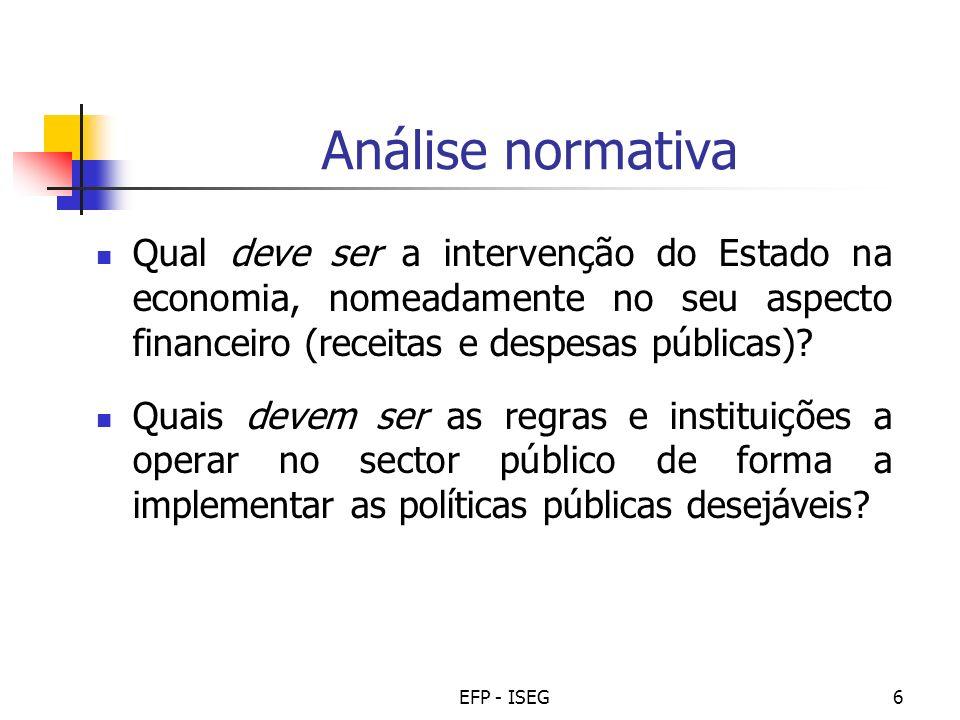 EFP - ISEG6 Análise normativa Qual deve ser a intervenção do Estado na economia, nomeadamente no seu aspecto financeiro (receitas e despesas públicas)