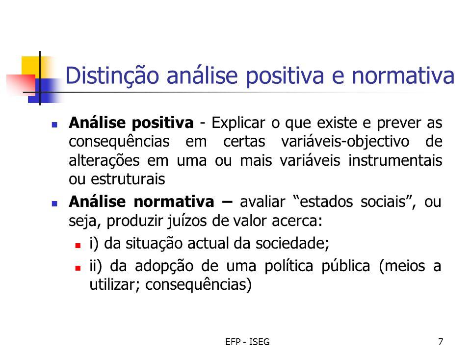 EFP - ISEG7 Distinção análise positiva e normativa Análise positiva - Explicar o que existe e prever as consequências em certas variáveis-objectivo de
