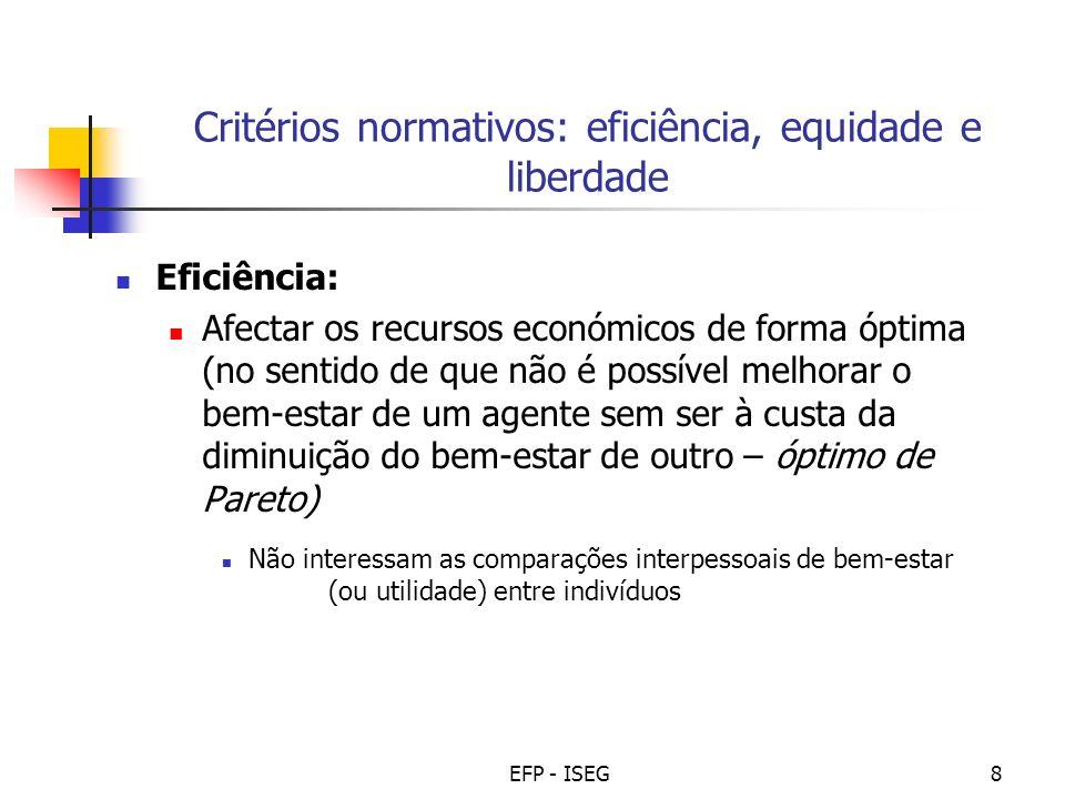 EFP - ISEG8 Critérios normativos: eficiência, equidade e liberdade Eficiência: Afectar os recursos económicos de forma óptima (no sentido de que não é
