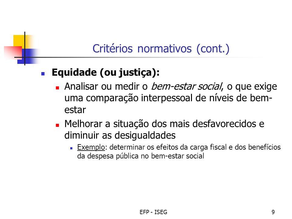 EFP - ISEG9 Critérios normativos (cont.) Equidade (ou justiça): Analisar ou medir o bem-estar social, o que exige uma comparação interpessoal de nívei