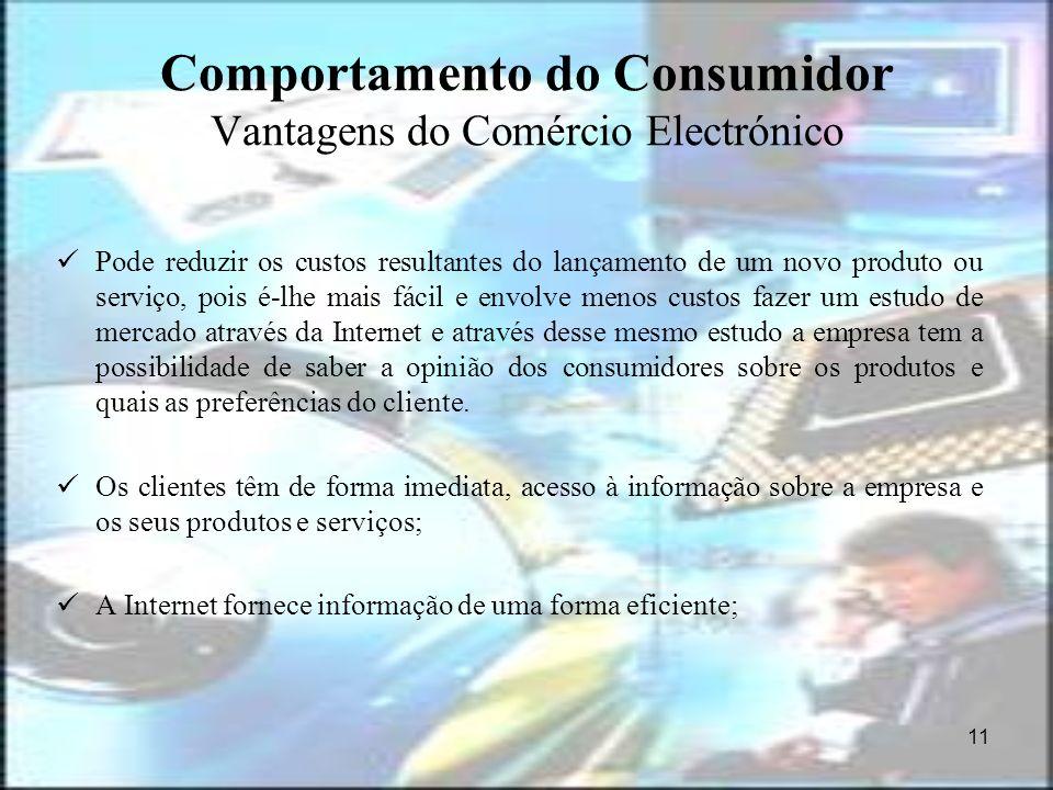 11 Comportamento do Consumidor Vantagens do Comércio Electrónico Pode reduzir os custos resultantes do lançamento de um novo produto ou serviço, pois
