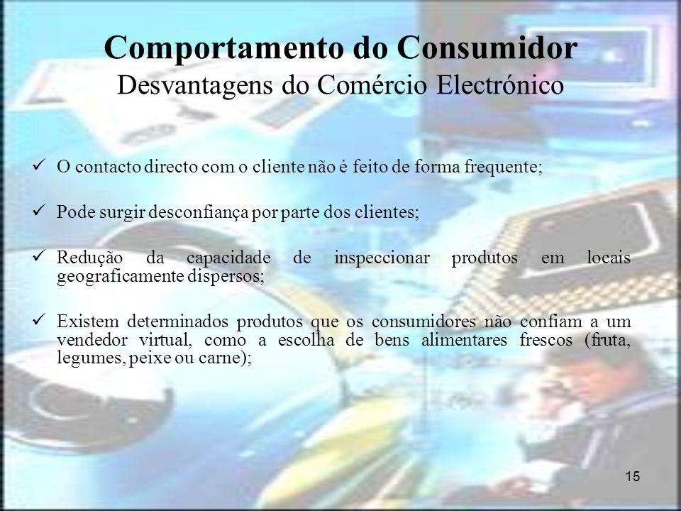 15 Comportamento do Consumidor Desvantagens do Comércio Electrónico O contacto directo com o cliente não é feito de forma frequente; Pode surgir desco