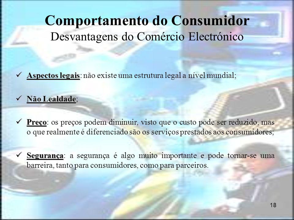 18 Comportamento do Consumidor Desvantagens do Comércio Electrónico Aspectos legais Aspectos legais: não existe uma estrutura legal a nível mundial; N