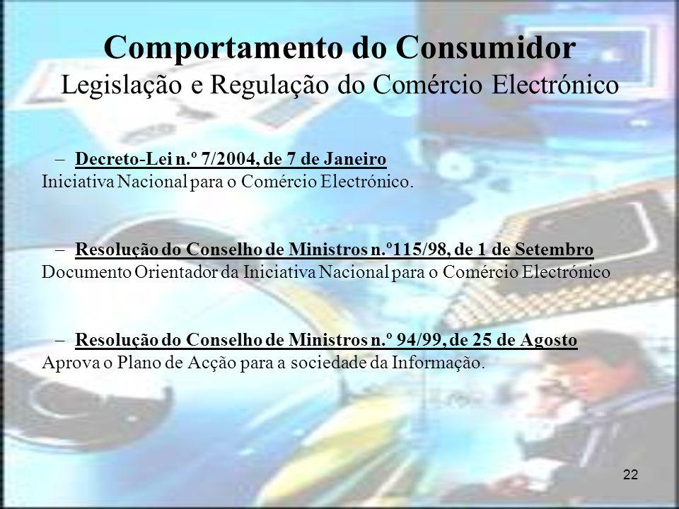 22 Comportamento do Consumidor Legislação e Regulação do Comércio Electrónico –Decreto-Lei n.º 7/2004, de 7 de Janeiro Iniciativa Nacional para o Comé