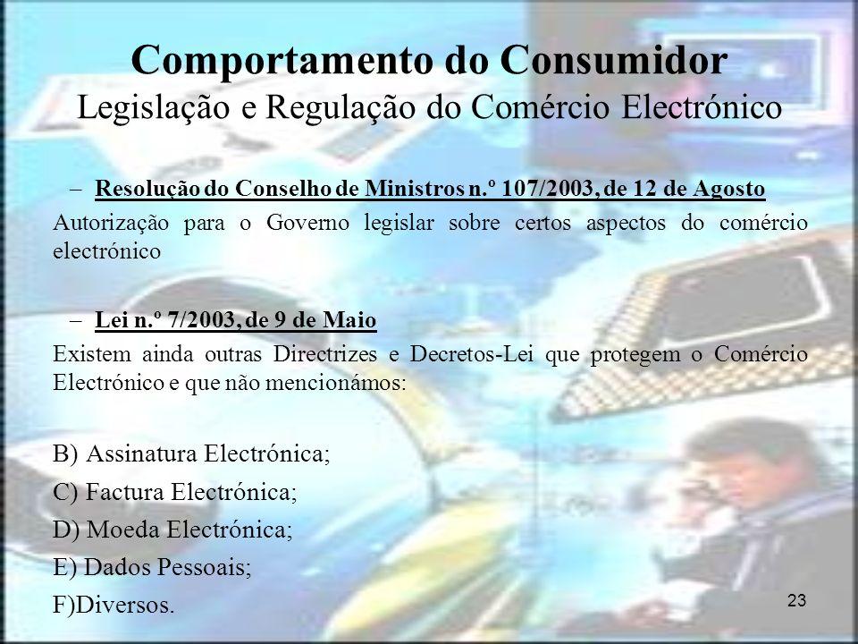 23 Comportamento do Consumidor Legislação e Regulação do Comércio Electrónico –Resolução do Conselho de Ministros n.º 107/2003, de 12 de Agosto Autori
