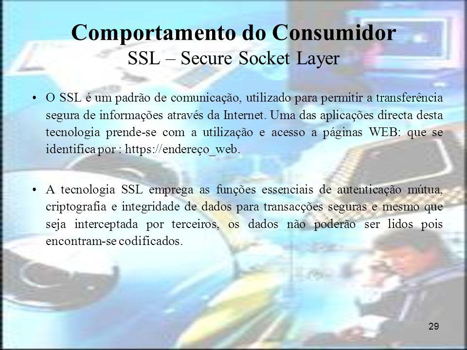 29 Comportamento do Consumidor SSL – Secure Socket Layer O SSL é um padrão de comunicação, utilizado para permitir a transferência segura de informaçõ