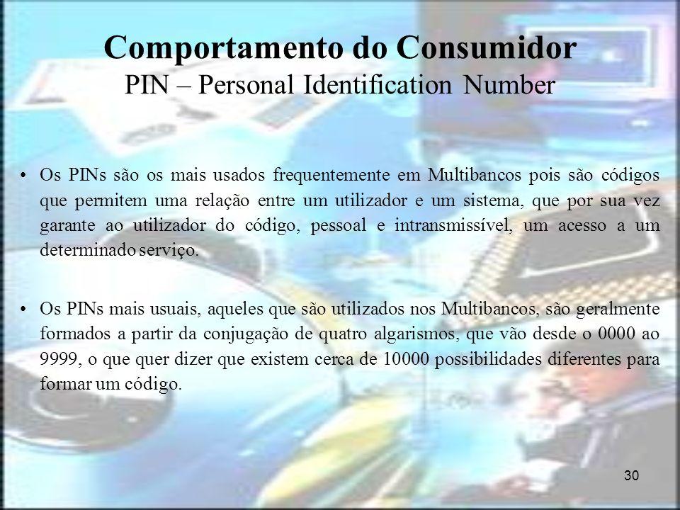 30 Comportamento do Consumidor PIN – Personal Identification Number Os PINs são os mais usados frequentemente em Multibancos pois são códigos que perm