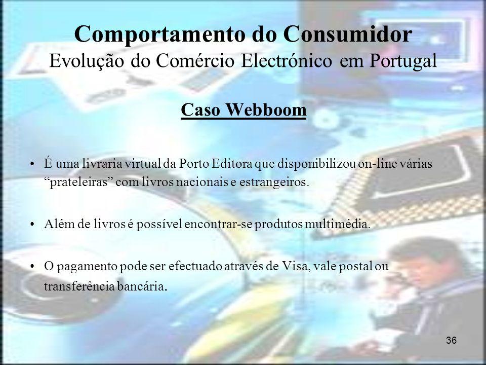 36 Comportamento do Consumidor Evolução do Comércio Electrónico em Portugal Caso Webboom É uma livraria virtual da Porto Editora que disponibilizou on