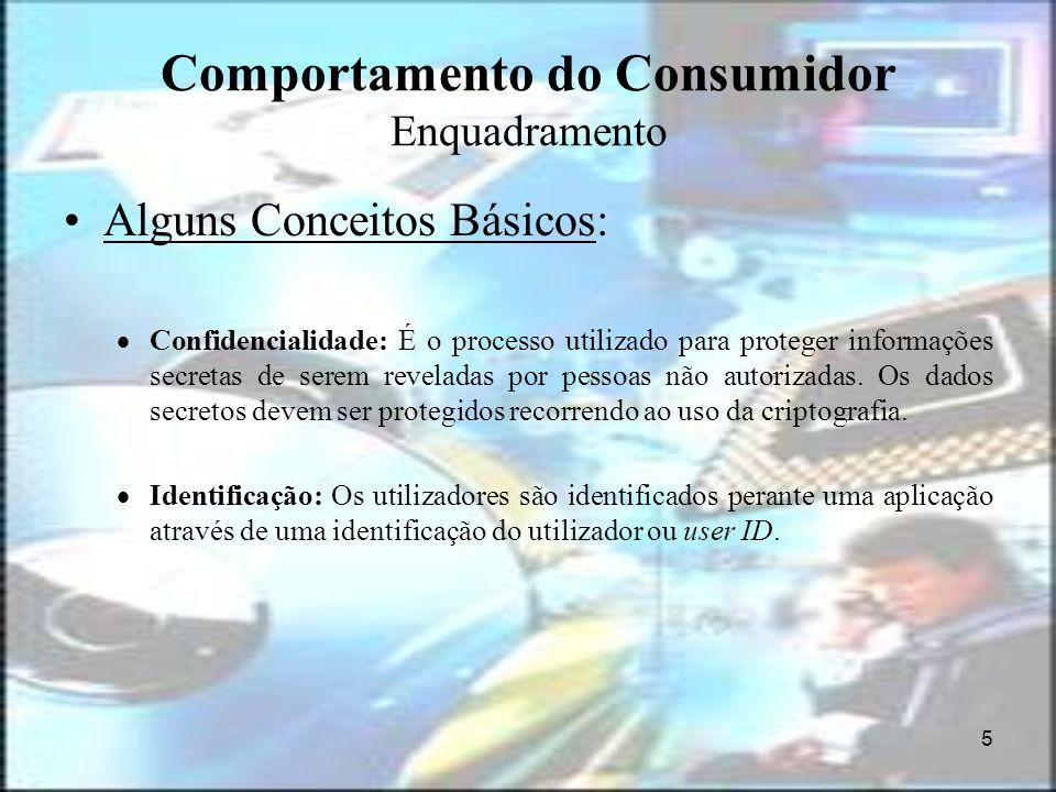 5 Comportamento do Consumidor Enquadramento Alguns Conceitos Básicos: Confidencialidade: É o processo utilizado para proteger informações secretas de