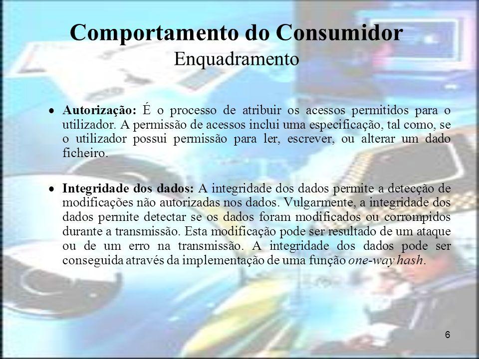 6 Comportamento do Consumidor Enquadramento Autorização: É o processo de atribuir os acessos permitidos para o utilizador. A permissão de acessos incl