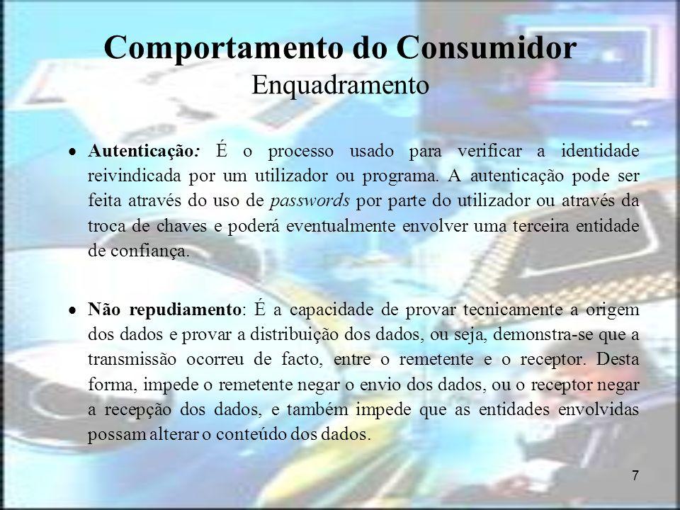8 Comportamento do Consumidor Enquadramento Rejeição de serviço: O ataque de rejeição de serviços, é um ataque do qual, o atacante toma posse, ou consome recursos, para que ninguém mais possa usá-lo.